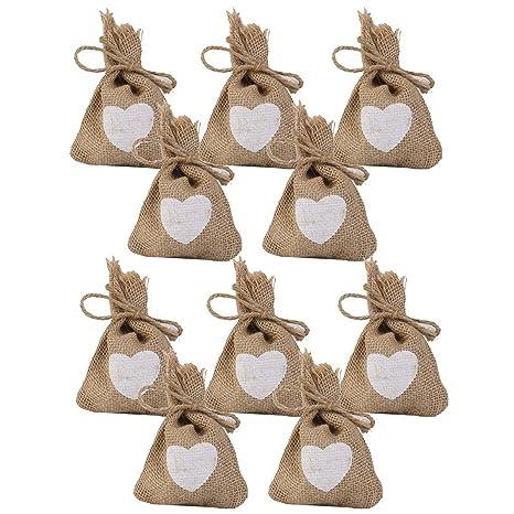 ROSENICE Boda regalo bolsa arpillera bolsas yute lino saco bolsa lazo para boda 10PCS