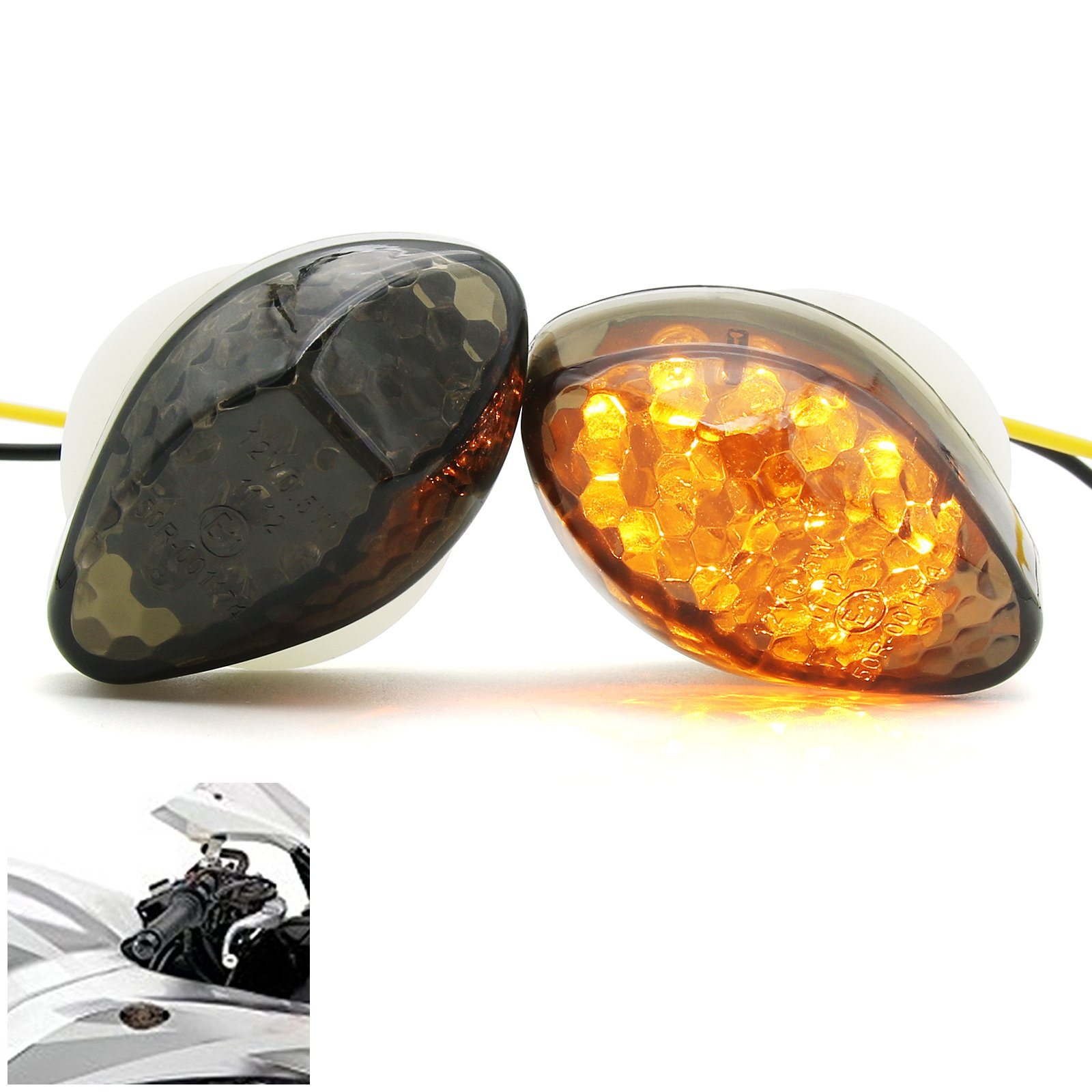 2Pcs Super Bright Motorcycle Front LED Flush Mount Turn Signal Light Blinker Side Maker Lamp for Honda CBR600RR CBR1000RR CBR600F3 CBR600F4 CBR600 F3 F4 F4I (Smoke)
