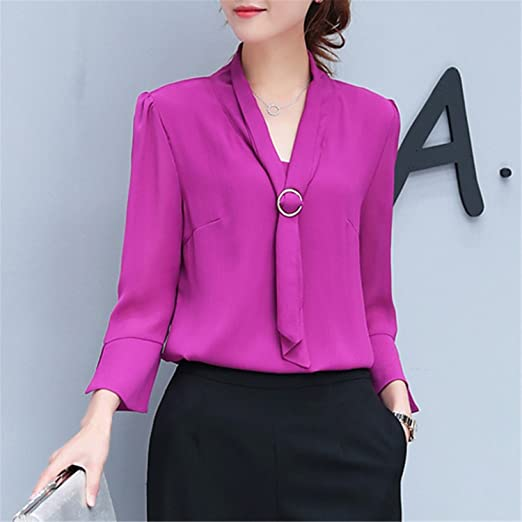 OUXIANGJU Women Spring Summer Chiffon Blouses Office Tops Casual Three Quarter Sleeve V-Neck Shirts at Amazon Womens Clothing store: