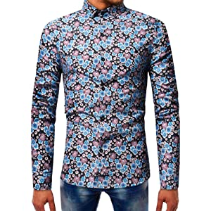 WWricotta Camisetas Negocio Hombre Manga Larga Originales Estampado de Flores Polos Streetwear Casual Camisas