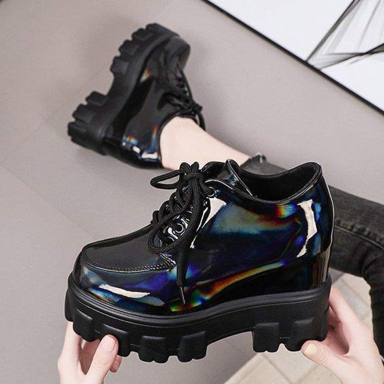 Zapatos de cu/ña de Plataforma para Mujer Zapatos de Estilo Creepers de Estilo brit/ánico con Punta Redonda Zapatos Derby de oto/ño Zapatos Oxford de Charol a la Moda
