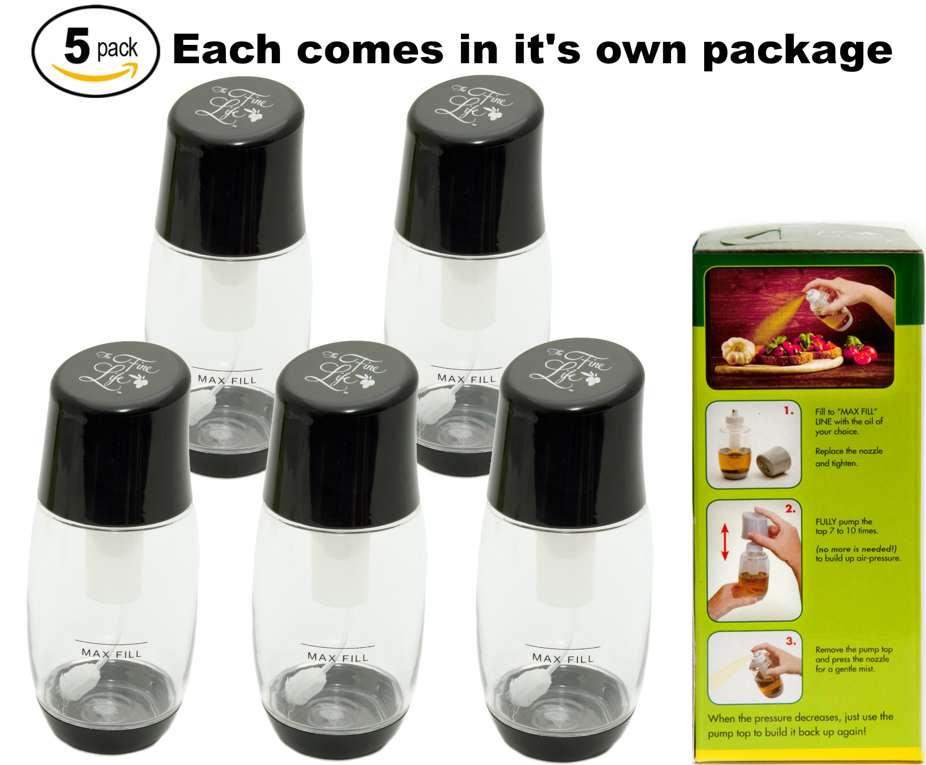 Ideal Kitchen Bundle Olive Oil Sprayer Mister - 5-Pack - Black by The Fine Life (Image #1)