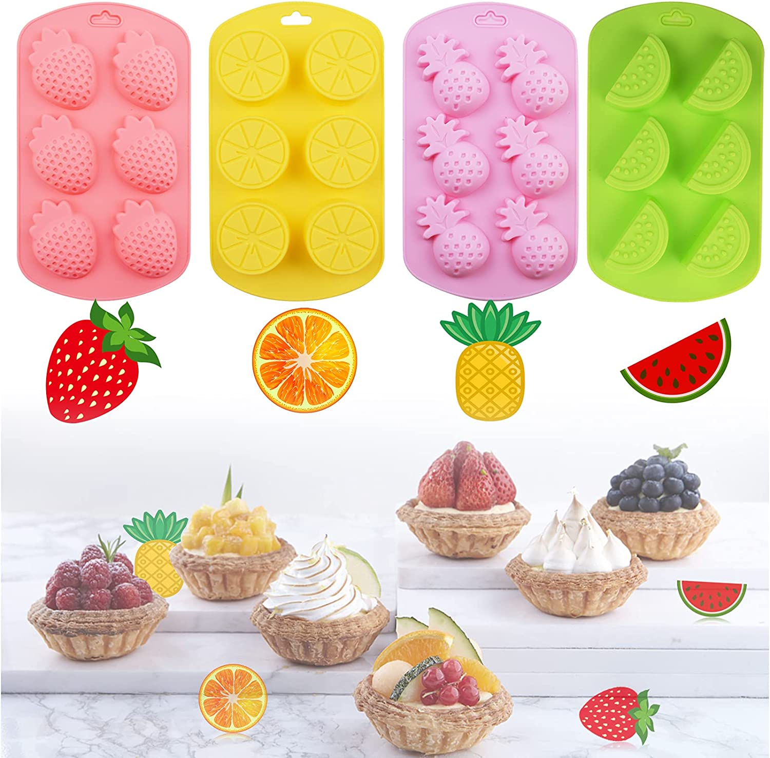 4Pcs Fruit Shaped Silicone Molds, Pineapple Lemon Watermelon Strawberry Chocolate Candy Molds Silicone Gummy Molds for Summer Ice Cubes Making Jelly Fondant Soap Pudding Cupcake Toppe Decorations
