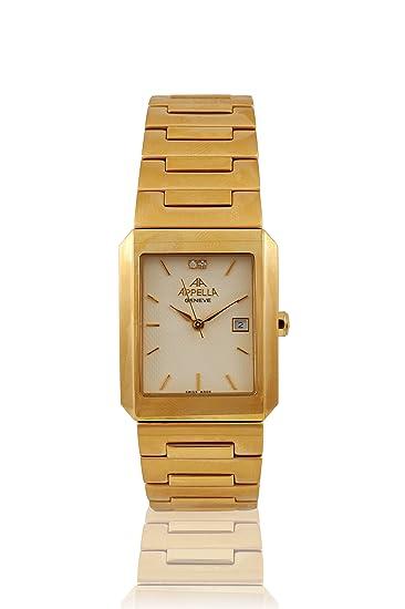 Appella AP.543.01.0.0.02 - Reloj para hombres, correa de acero inoxidable color dorado: Amazon.es: Relojes