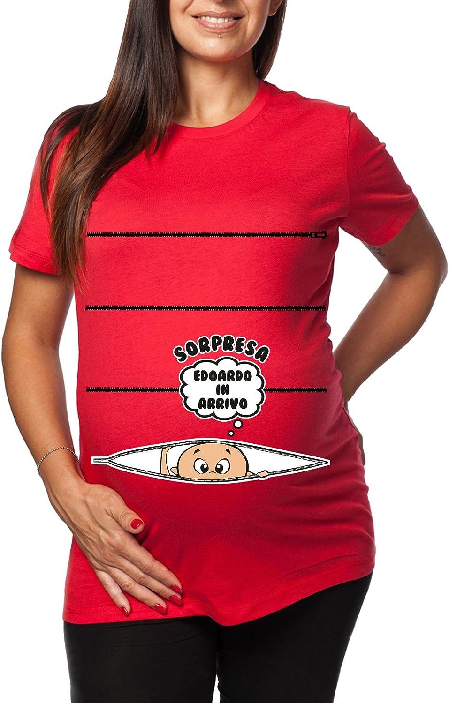 Tshirt Lunga da Donna Ideale per Il Premaman con Nome Maschietto Sorpresa Edoardo in Arrivo Tshirt Simpatiche e Divertenti Humor