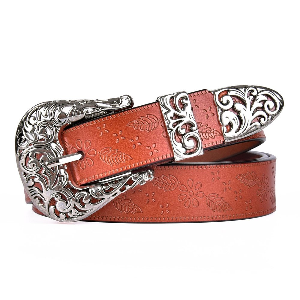 Talleffort Ladies Vintage Western Leather Belts for Women Genuine Leather Belt