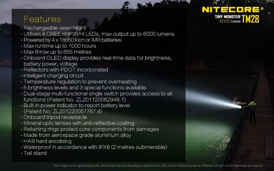 Bundle: Nitecore TM28 6000 Lumen Rechargeable Flashlight / Searchlight w/ NBP68HD Battery Pack +4x IMR 10A Batteries +2x Free Eco-Sensa Battery Cases