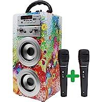 DYNASONIC - Altavoz Bluetooth Portátil con Karaoke | Radio FM y Lector USB SD (Modelo 1, 2 Micrófonos)