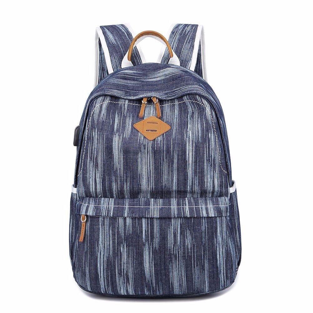 MSZYZ Mochila de lona para mujer, diseño vintage, para la escuela, con puerto de carga USB, Mujer, azul marino: Amazon.es: Deportes y aire libre