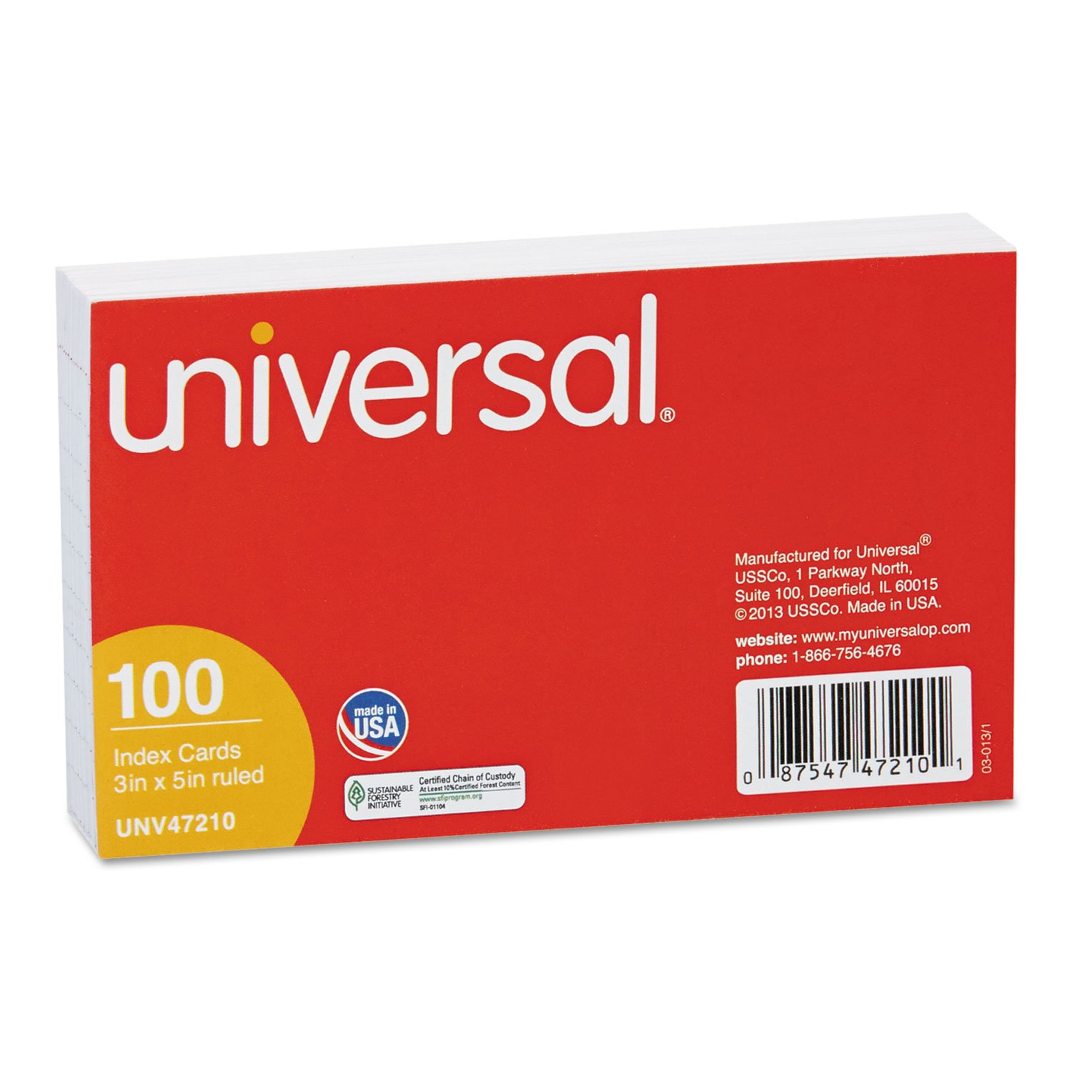 Ruled Index Cards, 3 x 5, White, 100/Pack, Sold as 1 Package Universal Office Products UNV47210