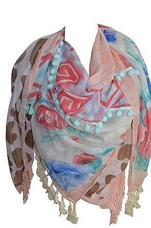 1e7a5102aec9 KARL LOVEN Foulard Femme Ethnique motifs ethnique à Franges et Pompon -  étole - pashmina -