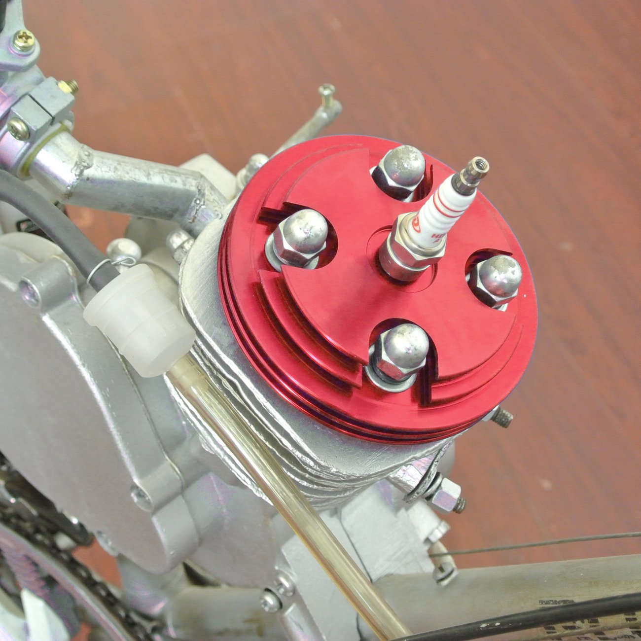 CNC Cylinder Head Cover+Gasket+Spark Plug For 80cc Motorized Bicycle Red