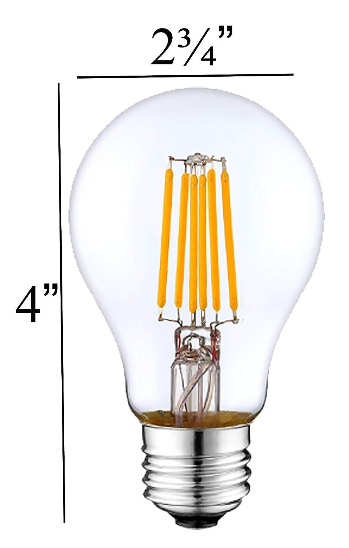 2 Pack Lasts for 25000 Hours UL Listed Heavy Duty Glass Energy Saving SleekLighting LED 6Watt Filament A19 Red Colored Light Bulbs Dimmable E26 Base Lightbulb