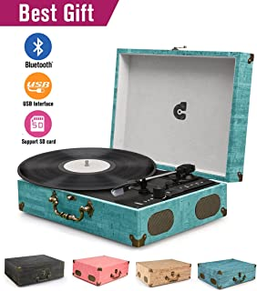Perfect CMC Portable Bluetooth 3 Stereo Speed Turntable With Built In Speakers,  Vintage Style Vinyl Record