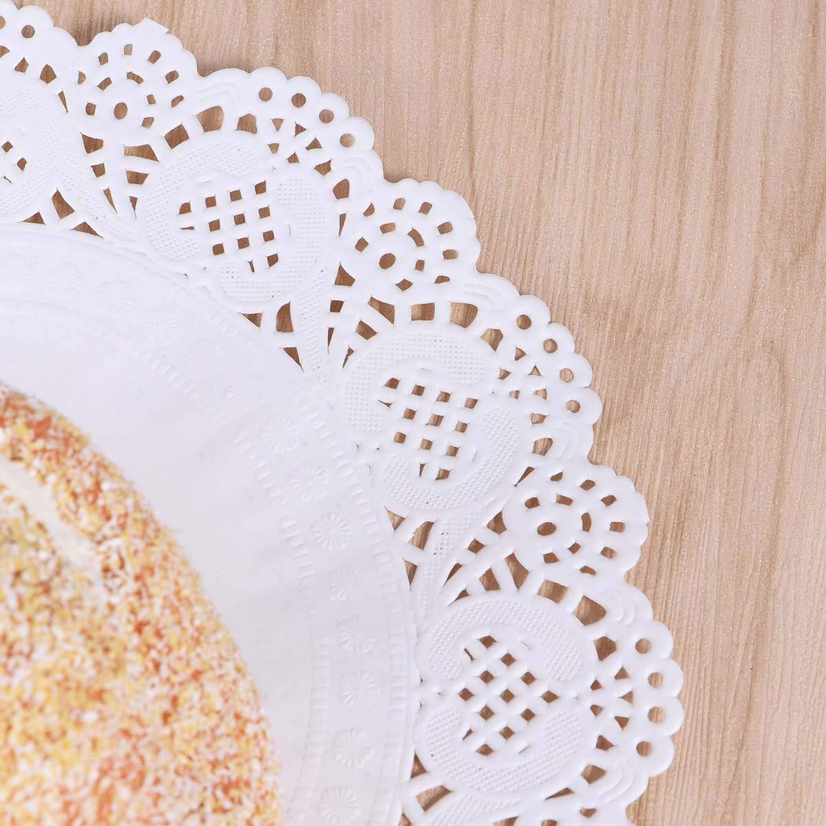 BESTONZON 140 Pezzi centrini di Pizzo Rotondo centrini di Carta tovagliette per Torte Dessert trattati al Forno Display 4,5 Pollici