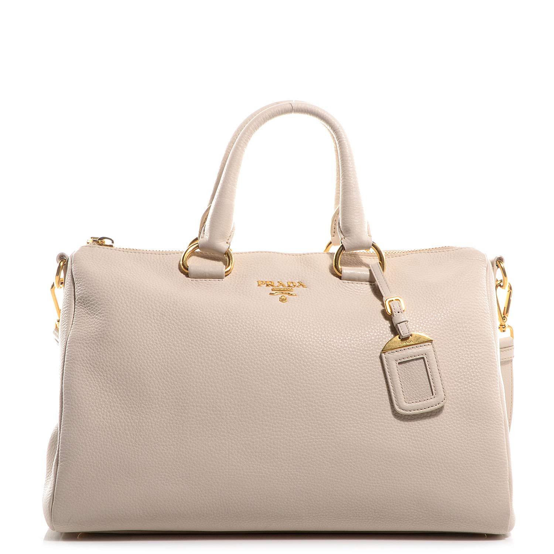 9fd2139ce1a8 Prada Bauletto Women s White Talco Vitello Phenix Handbag 1BB023  Handbags   Amazon.com