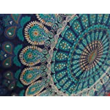 Indian Mandala Wall Hanging Tapestry, Hippie Hippy Tapestries, Feather Peacock Print Tapestry, Cotton Handmade Badsheet, Twin Size Bedding Bedspread, Picnic Beach Sheet, Table Cloth, Decorative Wall Hanging, 54x86 Inch. By Bhagyoday