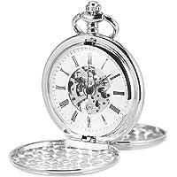 ManChDa® Hombres Steampunk Reloj de Bolsillo Plata Cazador de Doble Esfera Esqueleto con Cadena + Caja Regalo