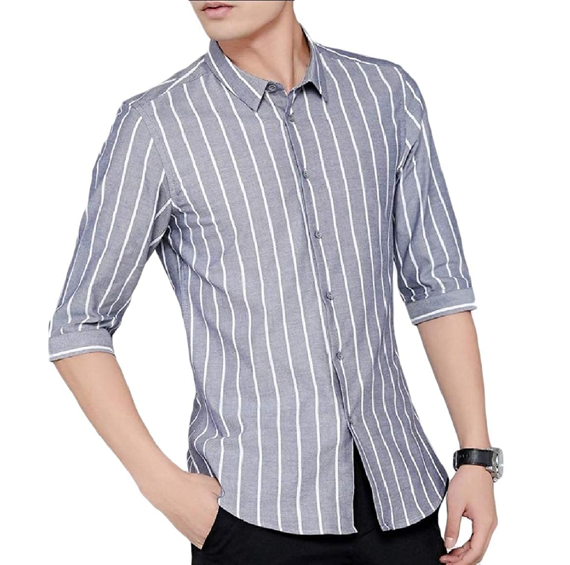 YUNY Mens Slim Fit Plus-Size Non-Iron Stripe Casual Leisure T-Shirts Grey 2XL