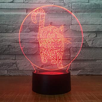 KangYD Cute Cat 3D Night Lamp, LED Decoración para el hogar ...
