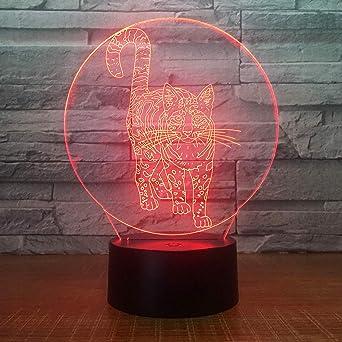 KangYD Cute Cat 3D Night Lamp, LED Decoración para el hogar ...