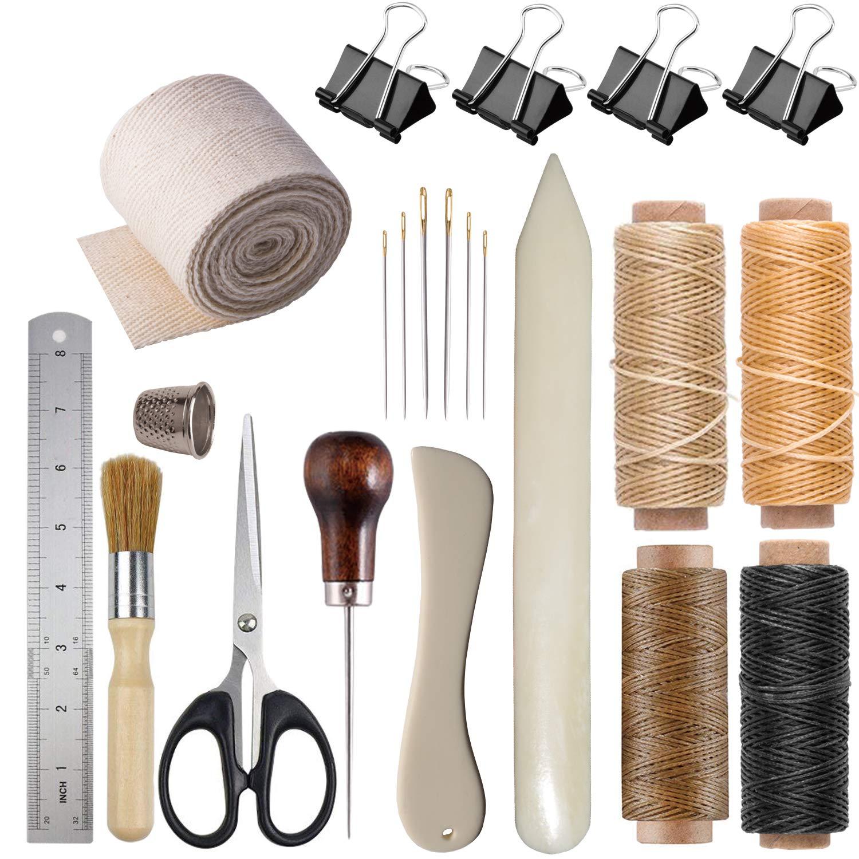 Bookbinding Kits, Bookbinding Supplies Hand Book Binding Starter Tools Kit with Genuine Bone Folder Creaser, Paper Awl, Large-Eye Needles, Waxed Thead, Binding Ribbon, Glue Brush, Steel Ruler, Clamps