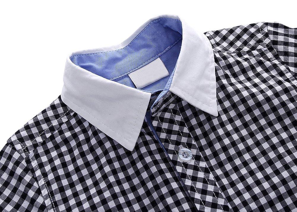 Tortor 1bacha Little Boys Gingham Check Plaid Long Sleeve Button Down Shirt
