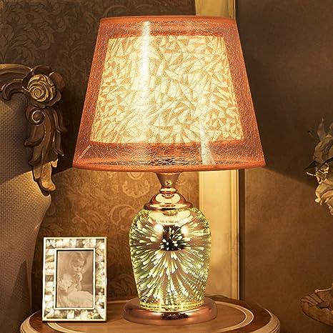 Lámpara de mesa de oro Creativo 3d dormitorio pirotécnico ...