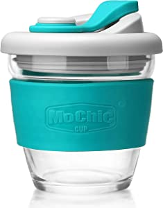 MOCHIC CUP Glass Travel Mug with Lid Reusable Coffee Cup Dishwasher and Microwave Safe Portable Durable Drinking Tumbler BPA-Free (Mint Green,8oz/227ml))