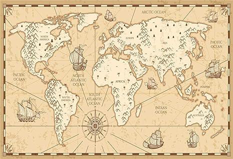 EdCott 10x7ft Antiguo Mapa Mundo Telón Fondo Tema náutico Militar Fotografía Fondo Veleros Barcos Brújula Mainand Océano Telones Fondo Pantallas TV Producción películas Fondo Pantalla Estudio: Amazon.es: Electrónica