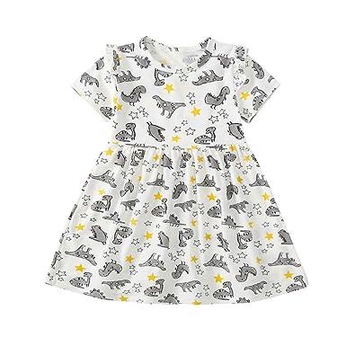 UK Kids Toddler Baby Girls Dinosaur Dress Casual Princess Party Dress Clothes