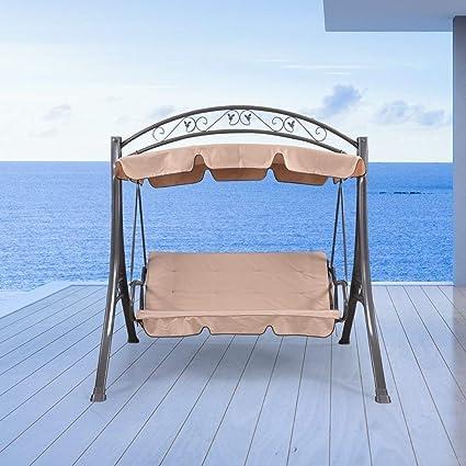 WICKER HUB GC411 Outdoor 3 Seater Metal Canopy Swing (Khaki)