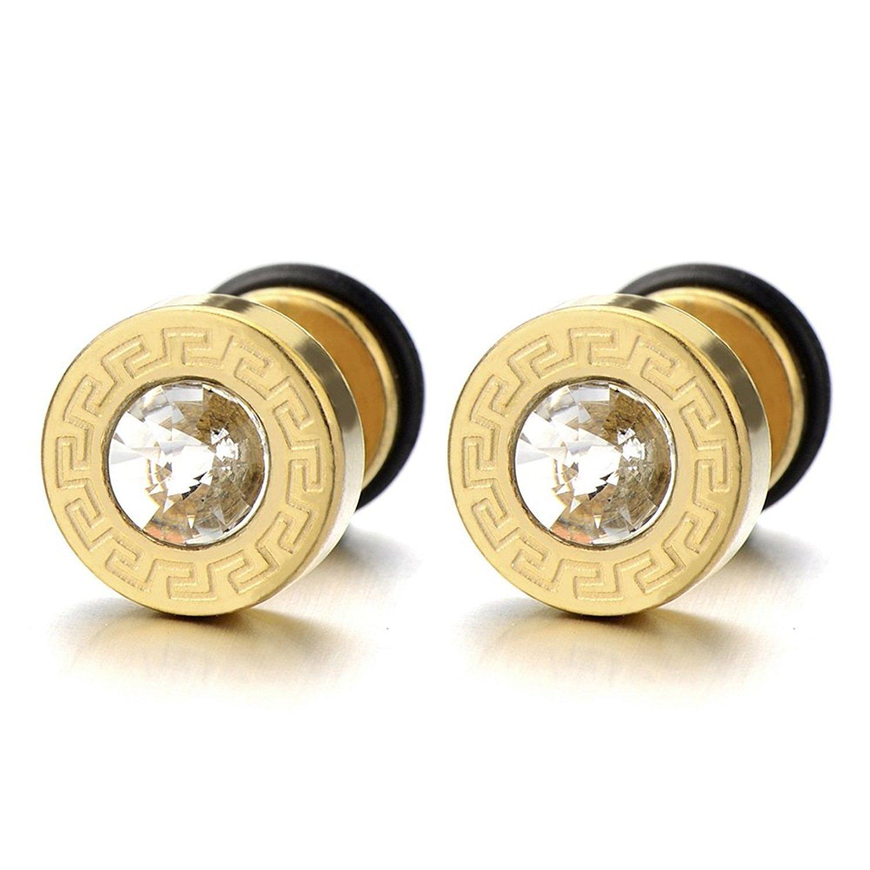10MM Steel Mens Gold Stud Earrings Screw Back with Greek Key Pattern and 4mm Cz, 2pcs