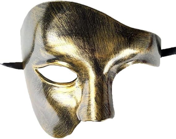 Half Mask Masquerade Phantom of The Opera Men Costume Face Masks White Gold