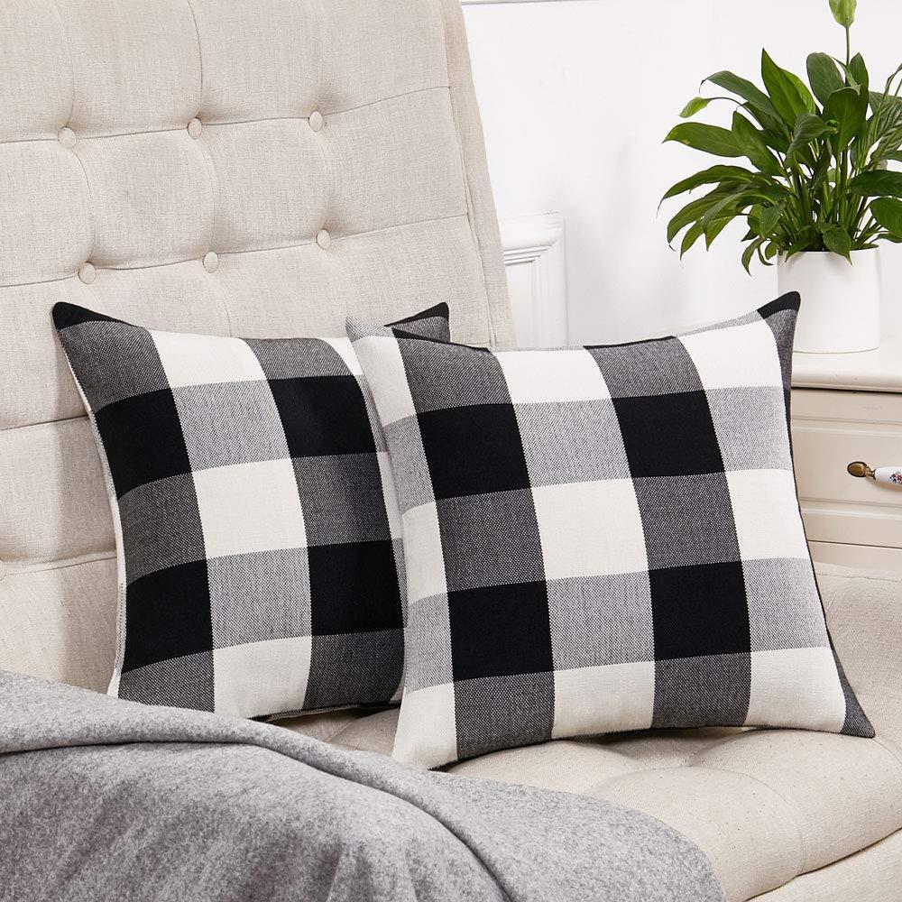 Set of 2 Black and White Buffalo Check Plaid Throw Pillow Covers Farmhouse Decorative Square Pillow Covers 20x20 Inches for Farmhouse Home Decor