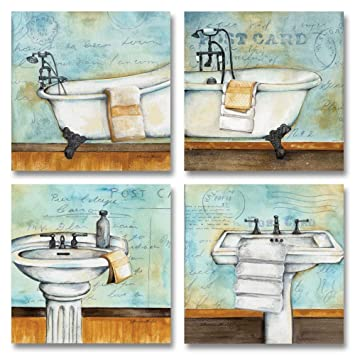 Vintage Bathtub And Sink Bathroom Prints On A Postcard Background Four 12x12in Posters