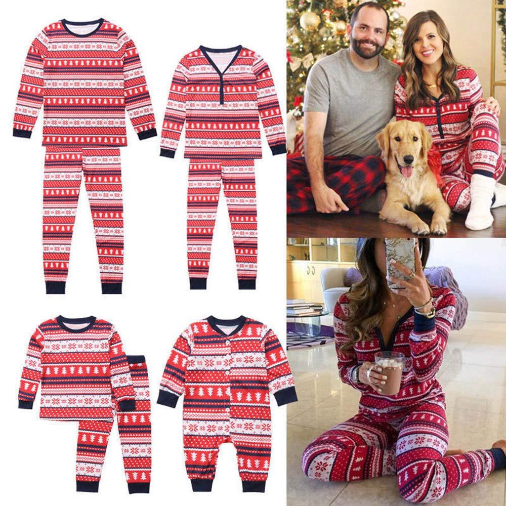 Rucan Christmas Parent-Child Snowflake Tops Blouse Pants Family Pajamas Sleepwear Outfits Set