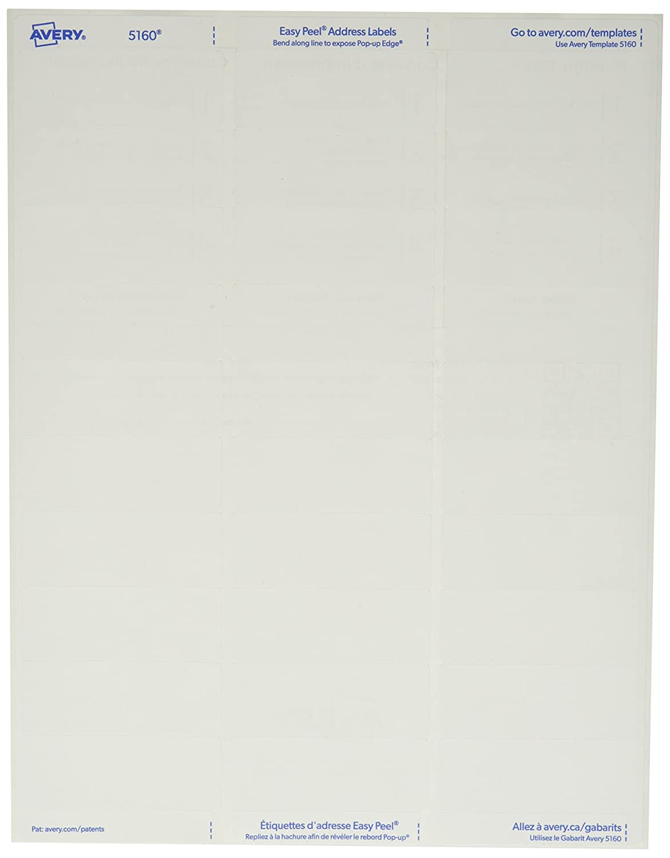 Amazon Avery 5160 White 1 X 2 58 Easy Peel Address Labels