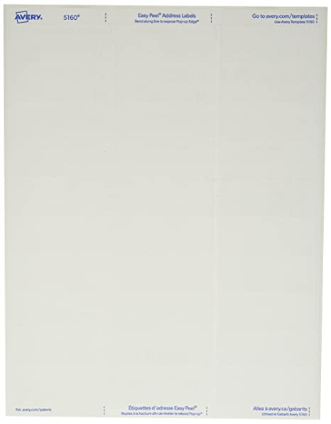 amazon com avery 5160 white 1 x 2 5 8 easy peel address labels