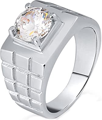Mens 316L Surgical Steel Ring for Boy Father Flat Signet Bands Ring Square Black CZ 10MM Gnzoe Jewelry
