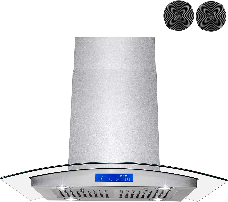 FIREBIRD - Panel de control táctil LED de vidrio templado de 30 pulgadas de acero inoxidable para rejilla de ventilación de cocina: Amazon.es: Grandes electrodomésticos
