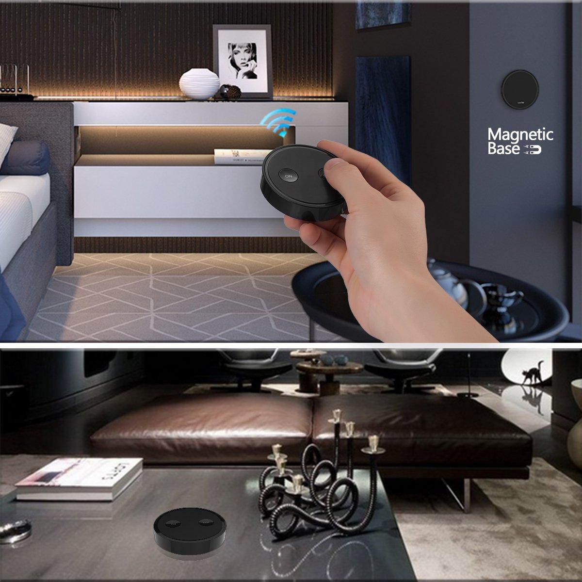 zwei schwarze Fernbedienungen mit einem wei/ßem Empf/änger Lichtschalter Funkschalter Set mit Fernbedienung