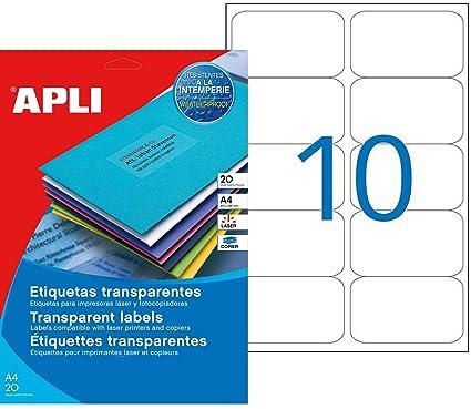 Apli 015093 - Juego de 160 etiquetas Invisible láser/copiadora 96 ...