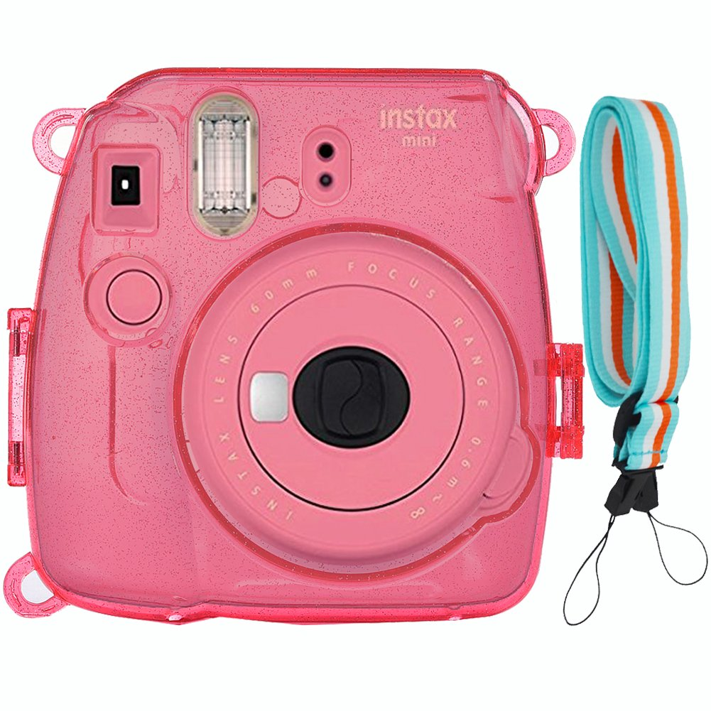 SAIKA Camera Case Cover for Fujifilm Instax Mini 9, Bling Glitter Shining PVC Crystal Protective Case for Fujifilm Instax Mini 9/8/8s Instant Film Camera with Cute Adjustable Strap (Flamingo pink)