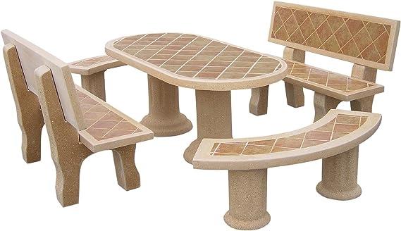 Conjunto Mesa Comedor Jardin DE Piedra Artificial Color Tostado. Mesa+ Cuatro Bancos.DORADATOSTADA: Amazon.es: Hogar