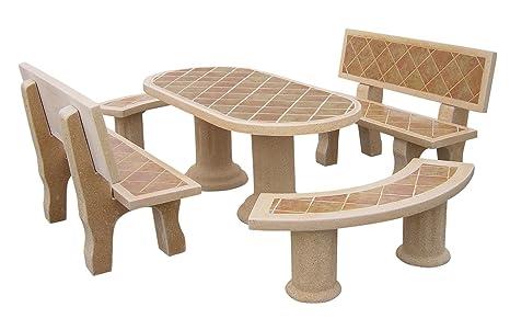 Conjunto Mesa Comedor Jardin DE Piedra Artificial Color ...