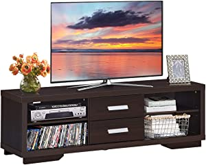 """Tangkula Modern TV Stand, Wood Universal Stand for TV's up to 65"""" Flat Screen, Home Living Room Storage Cabinet, 2 Drawers & 4 Open Shelves with 3 Adjustable Heights, Retro TV Console Table (Brown)"""