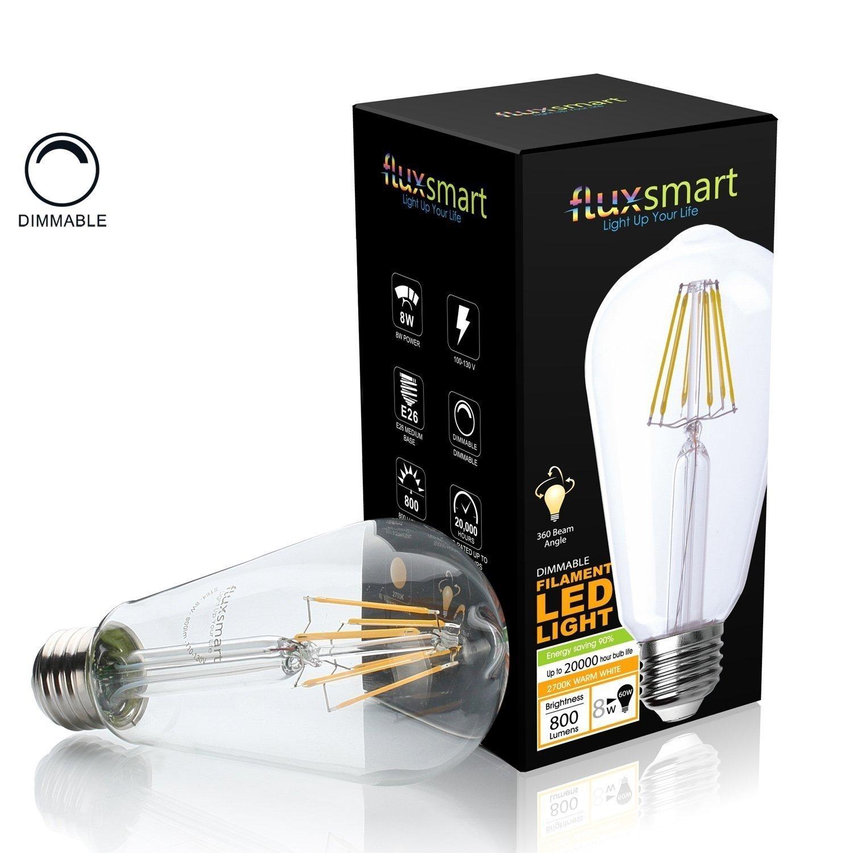 FluxSmart 8W Dimmable Edison Style Vintage LED Filament Light Bulb, 2700K Warm White, 800 Lumen, E26 Base ST21/ST64 Lamp, 60W Incandescent Bulb Equivalent (8 Watts)
