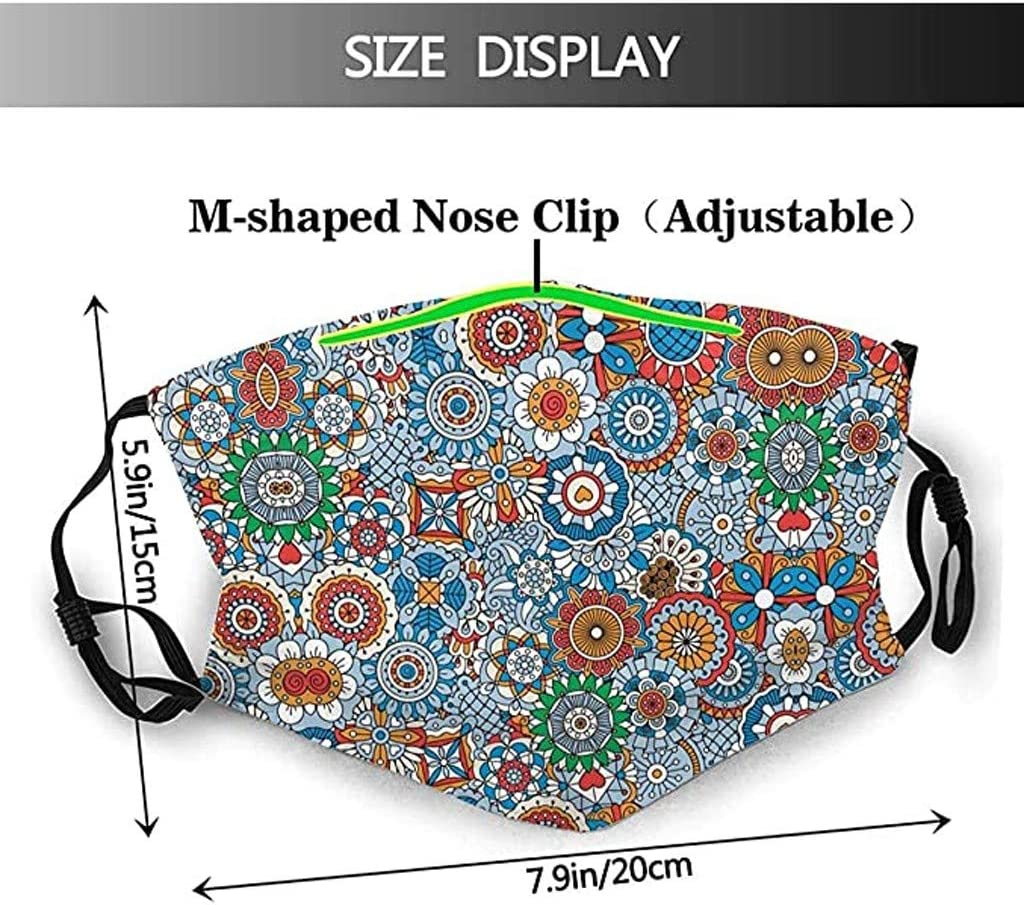 with Funny Animal Printed for Adults Free Size, Multicolor B Reusable//Washable 10 Replacement Sheet 5pcs Cotton Face Bandanas