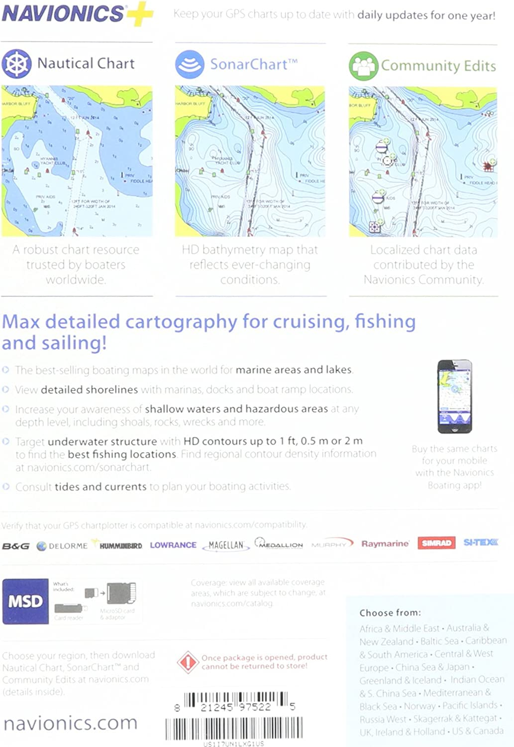Navionics+ Global Regions Marine and Lake Charts on SD/MSD: Amazon.es: Electrónica